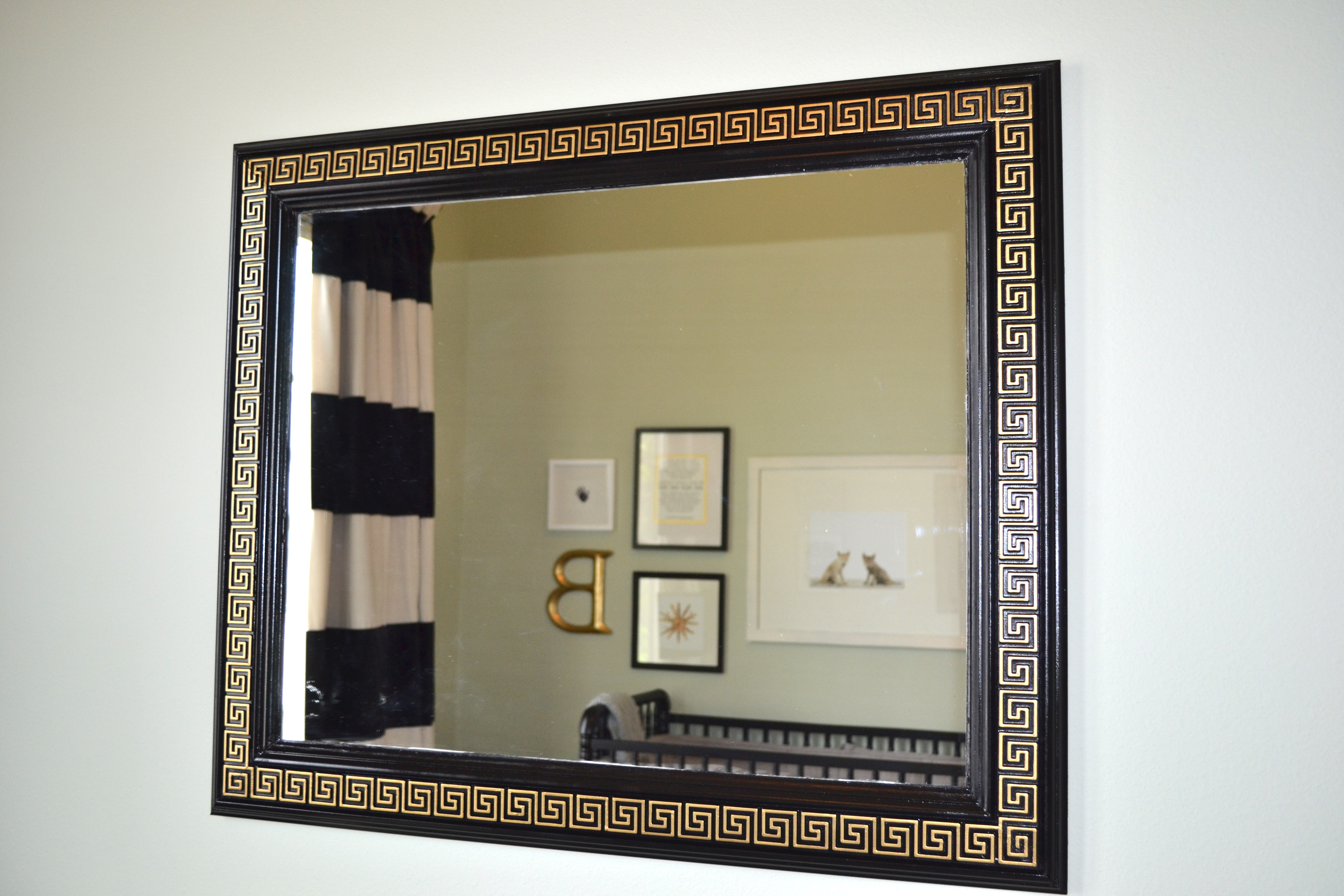Diy greek key mirror i spent about 40 on the chair rail 15 on the mirror and 25 on the plywood paint liquid nails and caulk for a total of 80 for a 3036 greek key jeuxipadfo Choice Image